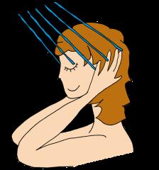 シャンプーの手順1|ぬるま湯で髪を流す